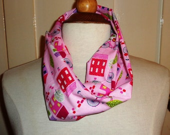 Pink Houses & Cycles Infinity Scarf, Infinity Scarf, Ladies Scarves, Loop Scarf, Womens Scarves, Circle Scarf, Tube Scarf, Gift Idea