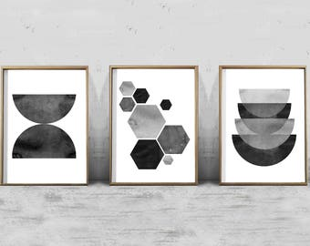 Abstract Watercolor Prints Set Black White Geometric Wall art Minimalist art Scandinavian Posters Large Printable Nordic Minimal Geometric