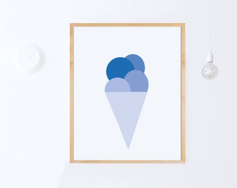Blue Nursery Wall Art-PRINTABLE Nursery Decor-Blue Wall Print-Icecream Print-Modern Nursery Art-Blue Nursery Art Blue Digital Print-DOWNLOAD