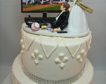 BASEBALL Any Team Game On TV Screen Funny Wedding Cake Topper Sports FAN