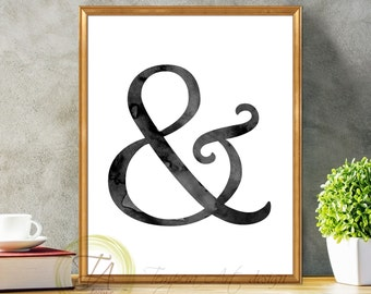 And sign print Ampersand print And printable sign Printable and sign Black and white AND Black and white ampersand & sign And poster