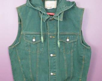 Vintage Green Denim Hooded Vest