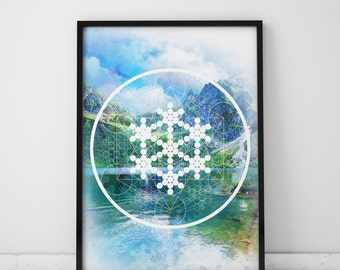 Nature Wall Art Nature Prints Mountain Print Nature Art Prints Sacred Geometry Print Nature Art Feng Shui Decor Blue Wall Art Water Print