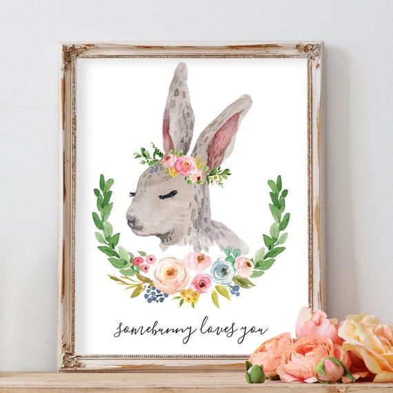 Rabbit Print, Bunny Nursery Art Print, Bunny Print with Flowers, Flower Crown Bunny, Boho Bunny Decor, Woodland Animal Nursery for Girl,