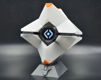 Destiny Ghost Life Size Replica Custom Colors with LED Light 3D Printed Display Stand Included