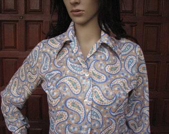 Vintage Pasiley Blouse, Retro Paisley Print Button Up Shirt, 1970s 70s Shirt