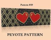 Valentines Day! Seed Bead Peyote Pattern #19 Bracelet - Delica Bead Heart Bracelet - Black Red Gold Bracelet Peyote Pattern - Beaded jewelry