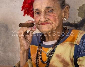 Cuba Photography, Cuba Print Art, Charming Cuban Lady with Cigar, Cigar Art, Woman Portrait, Fine Art Photography, Vertical Wall Art