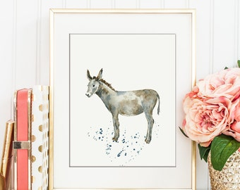 Watercolor donkey, gray donkey, printable donkey, for Instant Download, nursery print