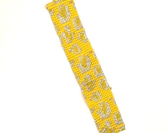 Yellow Cheetah Handmade Beaded Huichol Bracelet from Mexico