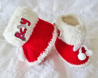 Pupil's holdall in 100% cotton doubledShoes woolen baby - Let us put for woolen baby - slippers baby