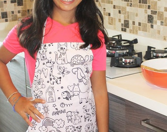 Colouring Apron for kids, Girls apron