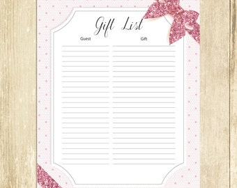 Lace Baby Shower Gift List, Pink Lace Baby Shower List, Baby Shower Sign In