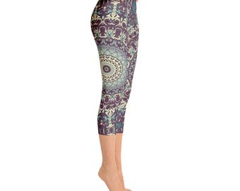 Capris - Mid Rise Fun and Funky Leggings, Printed Leggings, Mandala Yoga Leggings, Yoga Tights, Yoga Pants, Womens Stretch Pants