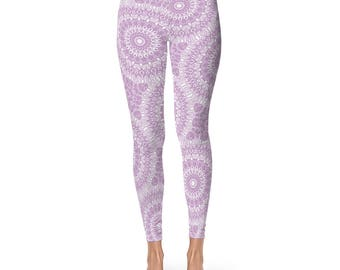 Printed Yoga Pants - Lilac Yoga Leggings, Lilac Leggings, Purple and White Printed Leggings, Mandala Art Tights, Stretch Pants