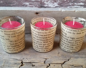 Book page candle votive holders, Little House on the Prairie upcycled book page candles