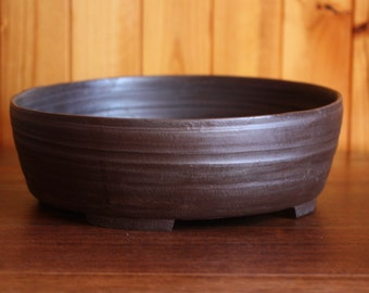 Large (32cm) dark brown unglazed pot