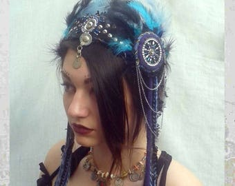 Tribal Fusion Headdress, Blue Feathers headpiece, Tribal belly dance headdress, Blue fairy headdress, Tribal fusion headpiece, Blue headband