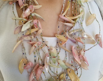 Beach Jewelry Sea Shell Statement Necklace-Multi Strand beaded summer necklace