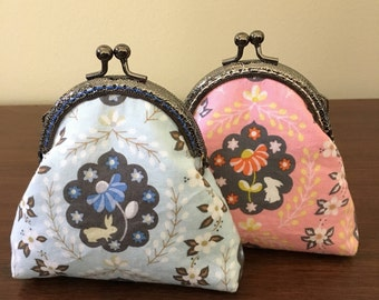 Bunny and Floral Coin Purse