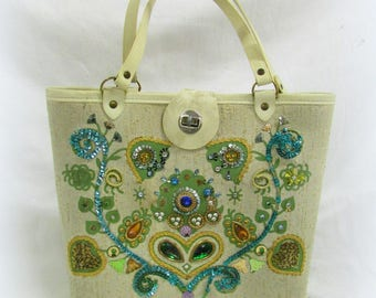 Vintage Handbag with Beads, Sequins, and Wooden Bottom