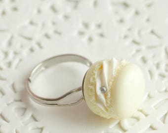 Macaroon vanilla whipped cream polymer clay, silver plated Adjustable ring, handmade ring made of polymer clay