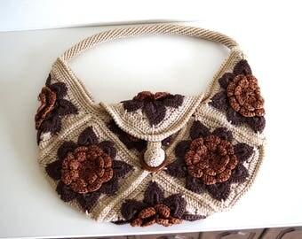 Vintage Crocheted Handbag Shoulder bag Handmade Bag with flowers Lined Crochet bag Beige brown bag crochet handbag tote bag Flowered bag