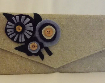 Linen envelope clutch with purple, blue and cream handfelted flowers