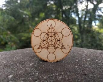 Stash Jar // Sacred Geometry  // Engraved Wood and Glass
