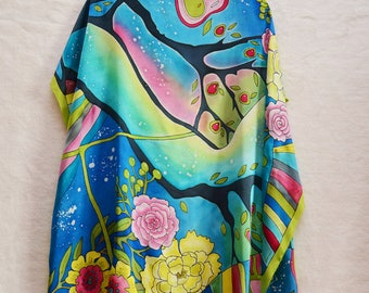 Exclusive Hand-drawn Hand-painted flowers one-of-a-kind silk satin blue green summer scarf gift idea shawl 35x35 woman clothing present