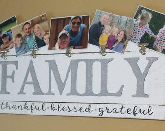 Rustic Hand Painted Family Photo Frame Holder, Farmhouse Style Photo Frame, Wooden Photo Collage Idea, Birthday Gift Idea, Photo Wall Decor