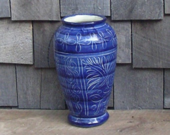Mexican Pottery Vase Cobalt Blue