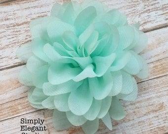 "AQUA- Chiffon Flowers, 3.75"" Fabric Flowers, Baby Headband Flowers, Craft Supply Flowers"
