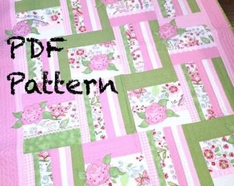 Roses Quilt Pattern, baby quilt Pattern, Quilt Pattern PDF, Cottage Chic lap Quilt Pattern, sofa throw quilt pattern