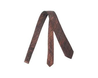 Vintage 60s Necktie - Sulka Necktie - Sulka - Bronze Brown - Silk Necktie - 60s Silk Necktie - 60s Skinny Tie - Iridescent Tie - Sharkskin