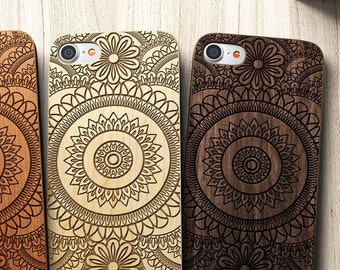 Mandala iPhone 8 case, 8 PLUS, X, SE 5s 5 6 /6s 7 Plus Case Samsung Galaxy S6 S7 S8 Edge Real Wood Case Laser Engraved iPhone Wooden Case