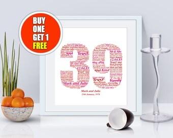 39th anniversary, 39th anniversary gift, thirty nineth anniversary, 39th anniversary present, 39th wedding idea