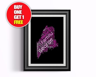 Maine artwork,  Maine present, Maine, Maine word art