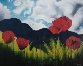Field of poppies, of María Mediodía original oil painting