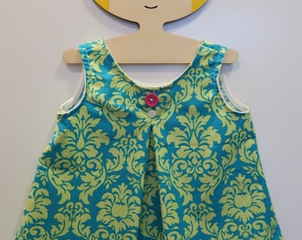 Teal & Lime Damask Tank with Pleating Detail- Size 12M