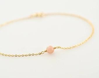 Super Dainty Pink Opal Bracelet, Pink Gemstone Layering Bracelet, Pink Opal on 14k Gold Fill or Sterling Silver Chain Everyday Bracelet