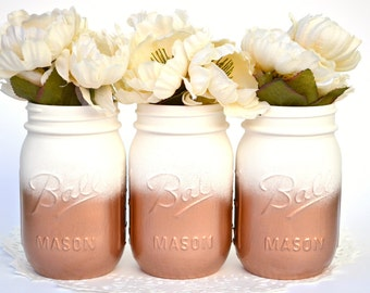 Painted Mason Jars, Mason Jars Bulk, Copper Jars, Metallic Jars, Dorm Decor, Painted Jars, Copper Centerpiece, Hipster Decor, Mason Jars