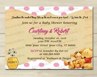 Winnie the Pooh Girl Baby Shower Invitations, pooh girl baby shower,Pooh Baby Shower Invitation,little honey, 5x7, Printed or Digital File**