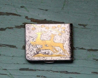 Vintage 50's Elgin American Silver and Gold Deer Powder Compact