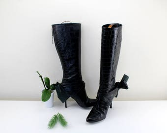 Vero Cuoio Exte leather boots black with leather loop Size EU 38, UK 5, US 7 extravagant boots for going out Made in Italy