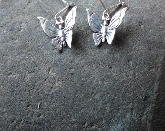Butterfly Sterling Silver Earrings, delicate earrings, small earrings, Butterfly jewellery, sterling silver earrings