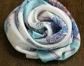 ROSE, floral motif silk scarf in light blue, lilac, purple, pink and teal, light turquoise - Hand rolled hem