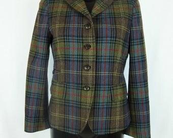 Jacket blazer, Scottish khaki green, wool, FAÇONNABLE (size 40 - Size L)
