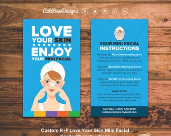 Rodan and Fields Mini Facial Cards  / Custom / Beautiful / Love Your Skin / Solid Colors / Instructions / Digital / DIY / Printable