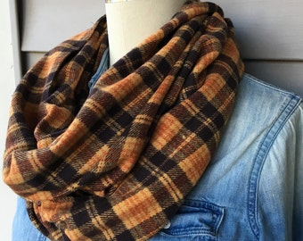 Brown & Gold Plaid Flannel Infinity Scarf